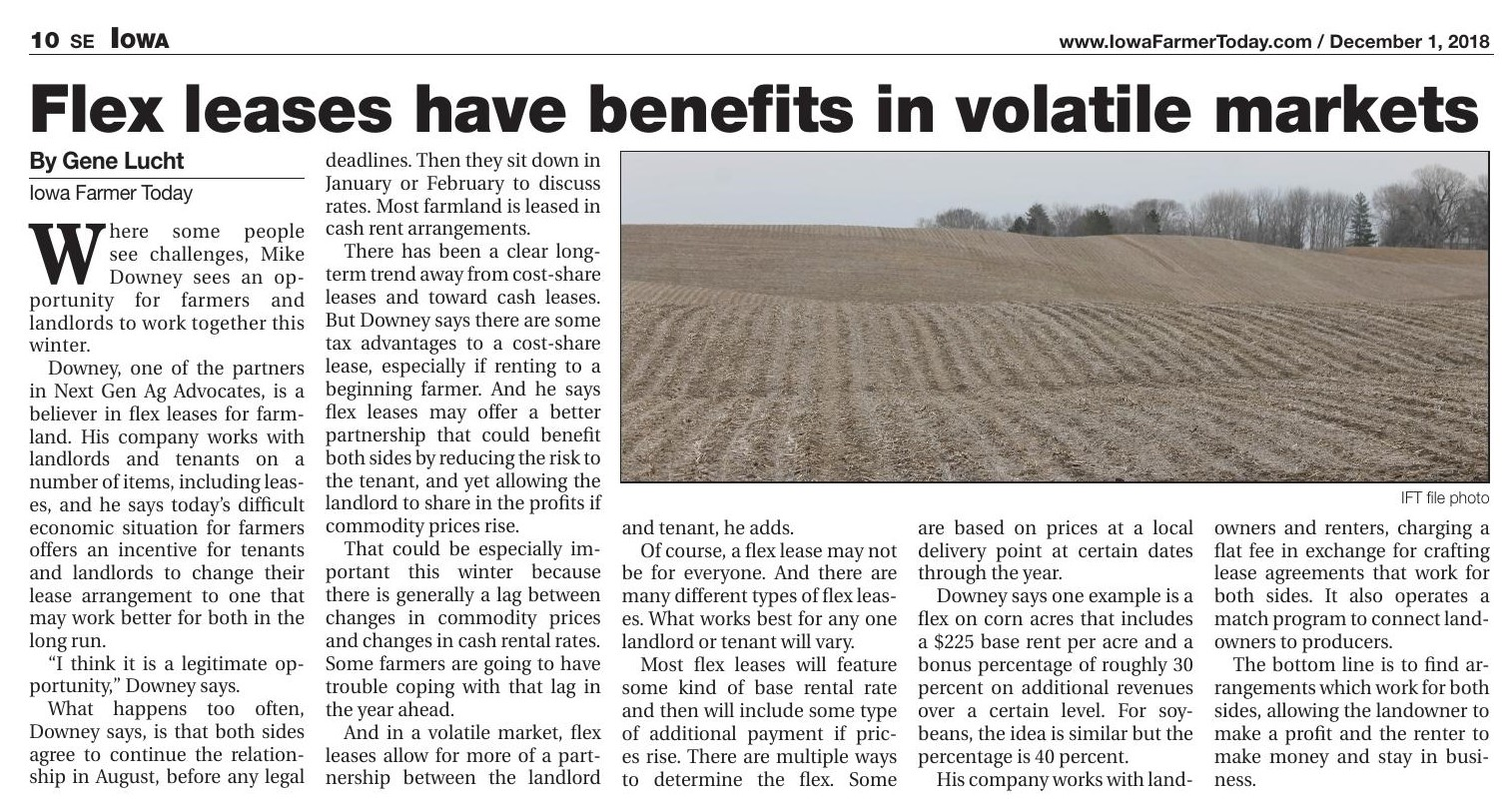Iowa Farmer Today – Flex leases have benefits in volatile markets
